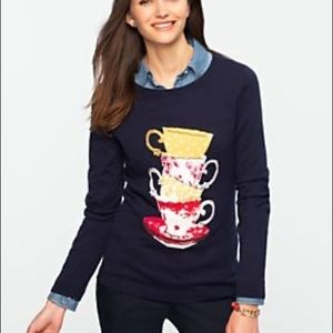 Talbots Navy Blue Teacup Knit Sweater